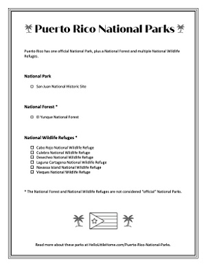 A small image of the printable parks list.