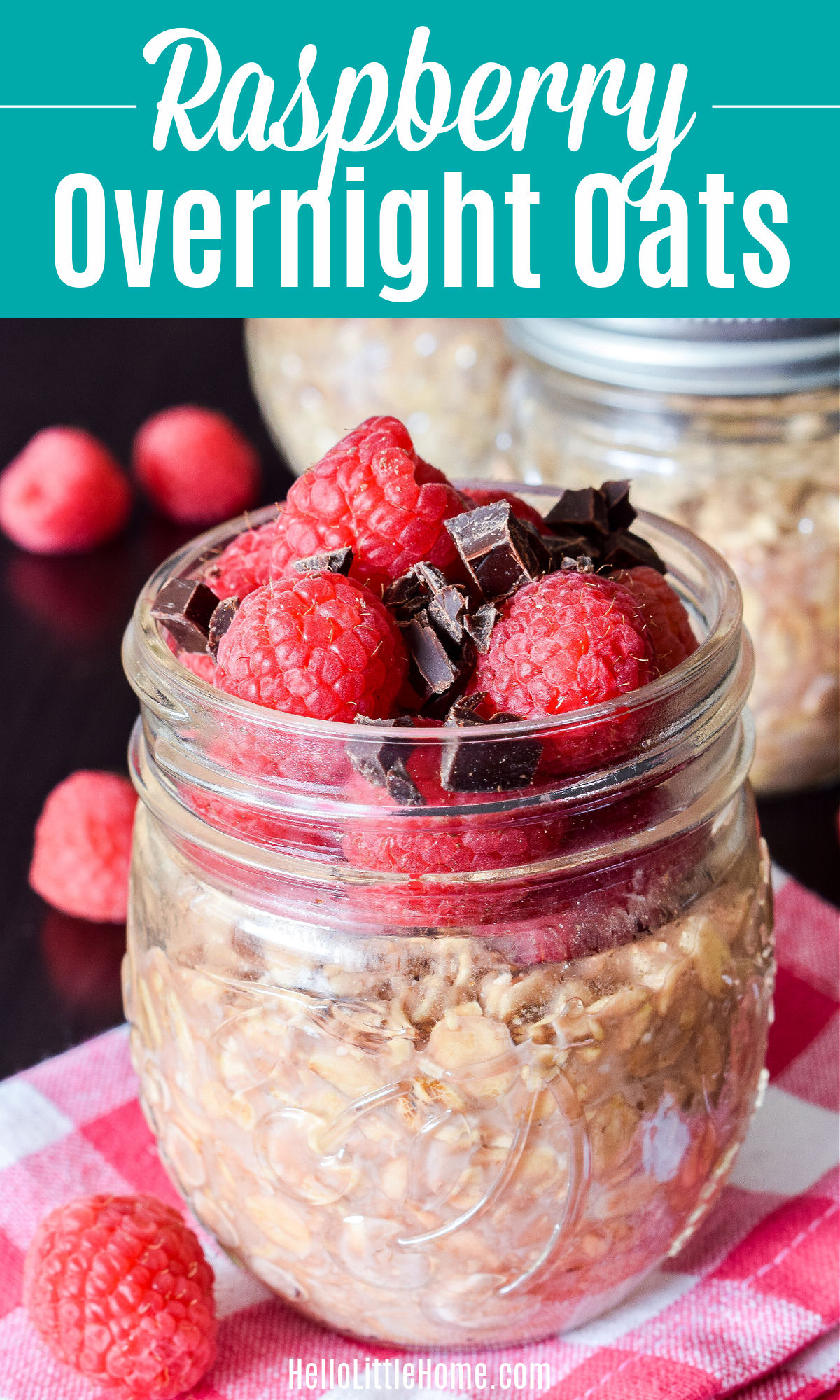 Closeup of the finished Raspberry Overnight Oats in a mason jar.