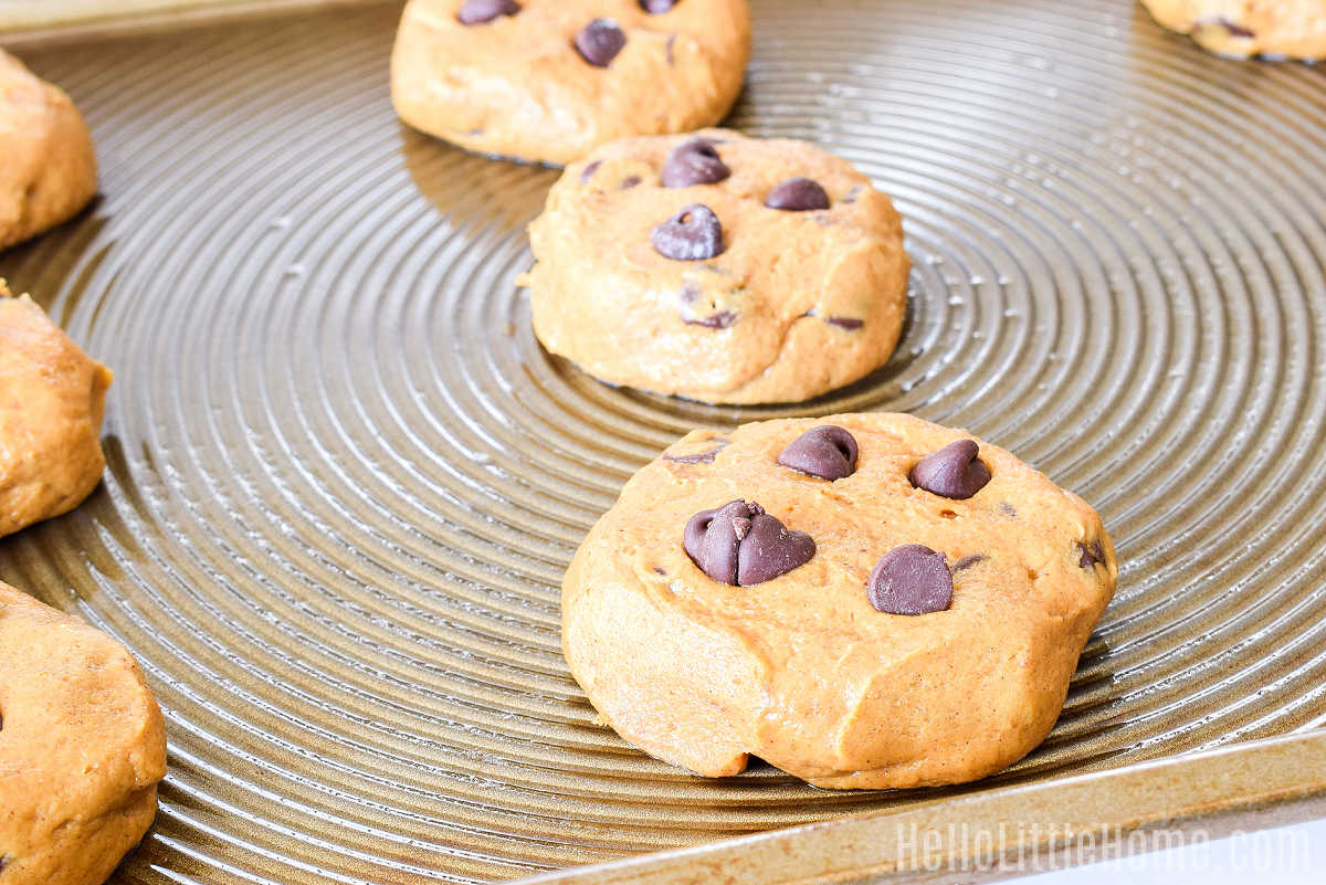 Pumpkin Chocolate Cookies on a baking sheet before baking.
