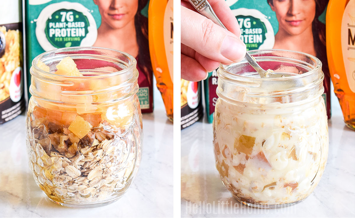 A photo collage showing the ingredients layered in a mason jar, and a hand mixing them together.