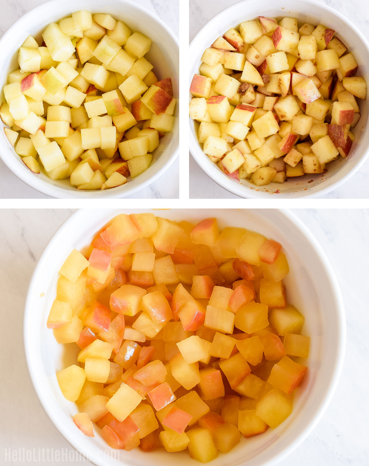 A photo collage showing chopped apples in a bowl, after mixing with brown sugar, and after being cooked.